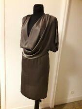 KOOKAI robe en satin de SOIE taille 42 vert bronze encolure bénitier drapée
