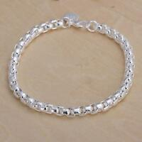 New 925 Silver Plated Round Lattice Jewelry Chain Bracelet For Women Gifts