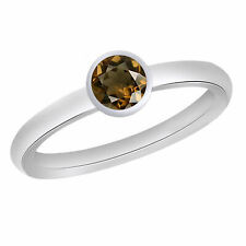 Smoky Quartz Solitaire Ring 14k White Gold Over Sterling Silver 925