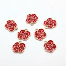 10Pcs Red Enamel Rose Flower Charm Pendants Alloy Beads DIY Jewelry Findings