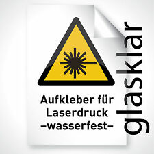 20x GLAS KLAR Aufkleber Klebfolie Klebefolie Laser Druck Folie Sticker DIN A3