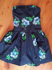 HOLLISTER Bustier Mini Kleid  blau grün HAWAII Blumen XS
