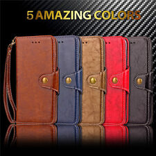 Luxury Retro Wallet Leather Stand Flip Cover Card Slot Case Secure Button Strap