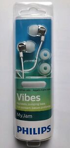 PHILIPS AUDIO SHE3705WT In-Ear Headphones Pumping Bass with Mic in White