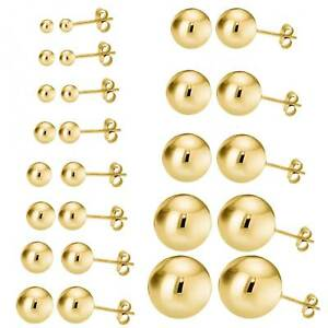 14k Gold Plated Sterling Silver Ball Bead Stud Earrings