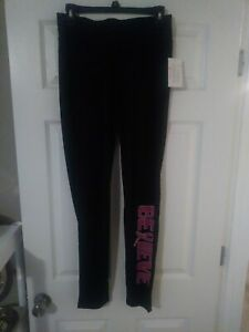 Womens S-M-L, BELIEVE Breast Cancer Stretch Yoga Pants Workout BCRF SUPPORT CURE