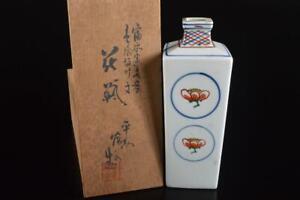 P6983: Japanese Kiyomizu-ware Flower FLOWER VASE Ikebana, auto w/signed box