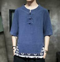 Mens Shirt Half Sleeve Casual Floral Summer Chinese Linen Cotton Tang Tops Size
