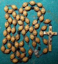Old LGE CARVED WOOD BEADS ROSARY - ST ANTHONY 32.68""