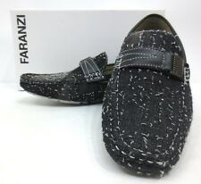 Men's FARANZI black denim driving moccasins slip on loafers shoes style F4847