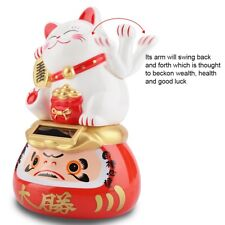 Lucky Cat Waving Solar Power Powered Japanese Fortune White Maneki Neko Wealth