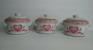 Unbranded Lot of 3 Pink Heart Spongeware Crocks with Lid Stoneware