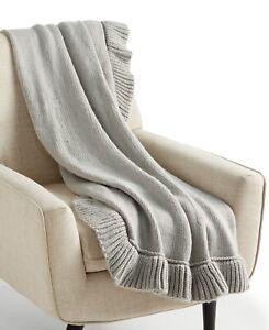 """Martha Stewart 50"""" x 60"""" Throw Blanket Whim Acyrlic Ruffled Trim GREY E01022"""