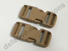 SET OF 2 Side Release Side Squeeze Dual Adjust Buckle 1 INCH - SAND