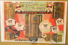 1938 Zenith Radio Color Ad 11X17 Card Stock 9S262, 12S265, 12S266, 6S238, 6S229