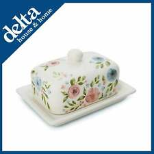 New Country Floral Ceramic Butter Dish Cooksmart Tray Holder Storage With Lid