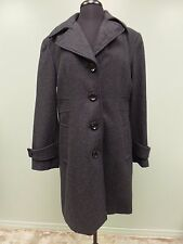 COLLECTION TRENCH COAT GALLERY WOOL BLEND BUTTON FRONT CHARCOAL GRAY WOMEN'S L