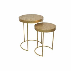 Fairmont Park Satztische Teo 2 tlg. Sofatisch Couchtisch Beistelltisch-Set Gold