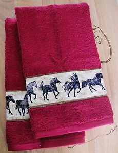 western bucking flower horse bath /& hand towel 2 piece set