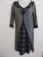 REBORN Soft Knit Gray & Plaid Trim Layered Single Button Front Dress XL