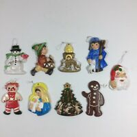 9 Vintage Hand Painted Christmas Ornaments Ceramic Lot Santa Tree Snowman Ginger