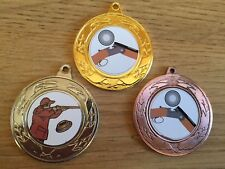 3x CLAY PIGEON SHOOTING MEDALS(40mm) GOLD,S & B-FREE ENGRAVING,CENTRES & RIBBONS