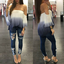 Summer Women One off Shoulder Backless Blouse Tops Flare Sleeve Loose Shirt White XXL