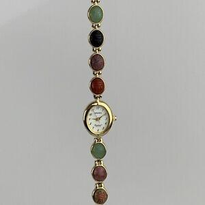 Gruen Quartz Gold Tone Scarab Stone Bracelet Excellent Condition Needs Battery