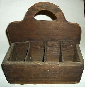 Vintage Antique Handmade Primitive Wooden Tool Caddy Tote Carrier Rustic Box