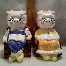 Vintage Retirement Piggy Banks Pair of Mr and Mrs Pig Ceramic Taiwan
