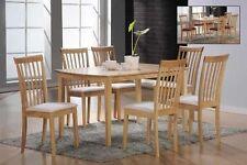 Massivholz Rubberwood Stuhlgruppe - Esstisch + 6 Stühle - Küchenstühle Tisch SET