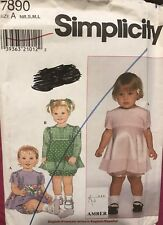 SIMPLICITY Amber pattern 7890 Babies' Dress & Panties size NB,S, M,L  uncut