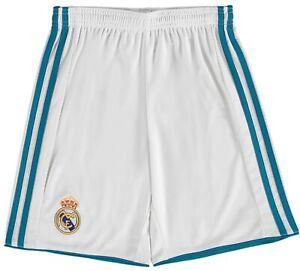Real Madrid Football Shorts adidas Kids Boys 2017-18 Home Shorts - White - New
