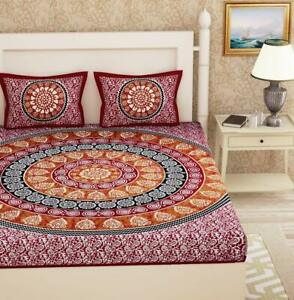 Super King Size Cotton Jaipuri Mandala Bedsheet 2 Pillow Cover Set Bed Set 3 Pcs