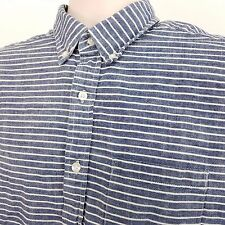 American Eagle Shirt Men's Size Medium Blue White Striped Cotton Long Sleeve