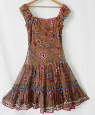 New Anna Sui dress Silk Chiffon Multi-Color Swing Off Shoulder Tiered Size 2