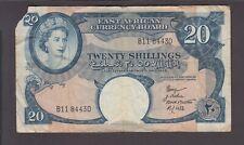 East Africa P.39-4430 20 Shillings (1958-60) pfx B11 QE II see scan,  we combine