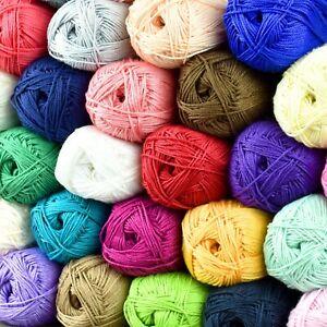 LUXURIOUS 100% EGYPTIAN COTTON 4 Ply Knitting Wool Giza Mercerised Yarn 50g Ball