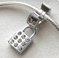 Silver Charm Bead Stopper Lock Clip Rhinestone fits Authentic European bracelet
