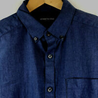 Kenneth Cole New York Mens M Blue Long Sleeve Button Down Shirt 100% Cotton $89