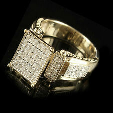 Yellow Gold Over .925 Sterling Silver Round Simulated Diamond Cocktail Ring 14K