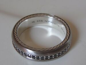 $1850 DAVID YURMAN TITANIUM SS MENS STREAMLINE BLACK DIAMOND RING