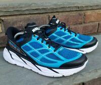 Hoka One One Clifton 2 Athletic Run Walking Shoes Blue Black White Mens Sz 11.5