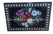3'x2' Black Marble Dining Table Top Floral Inlay Fine Art Living Decor E668