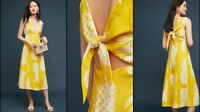 Anthropologie Pineapple Midi Dress by Maeve Size 6 $148