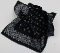 STEFANO RICCI BLACK PAISLEY PATTERN SILK POCKET SQUARE- MADE IN ITALY