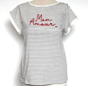 New Oasis Top Striped Mon Amour Slub Tee Shirt XS 6 - 8