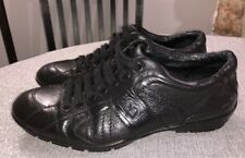 BALDININI Women's Black Leather Lace Up Fashion Sneakers Sz 37 US 7
