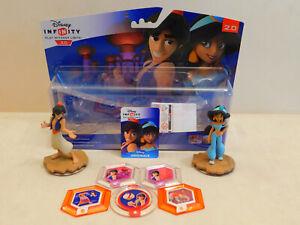 Disney Infinity 2.0 Aladdin & Jasmine Figures - Power Discs x5 Rare Carpet, Abu