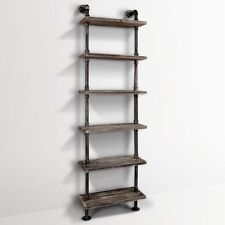 6 Level Rustic Industrial DIY Pipe Ladder Tier Shelf Wooden Bookshelf